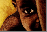 Een premium afbeelding van een Afrikaanse jongen, gemaakt met de techniek van het brandschilderen | door glasatelier ruud harberts