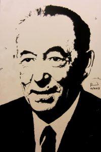 Een afbeelding van een gebrandschilderd portret van een oudere man, Johannes Hendrikus